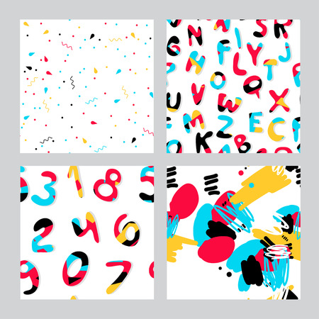 Vectoe set of seamless patterns with letters, numbers and abstraction. Collection of colorful patterns for fabric, polygraphy, web, game design.