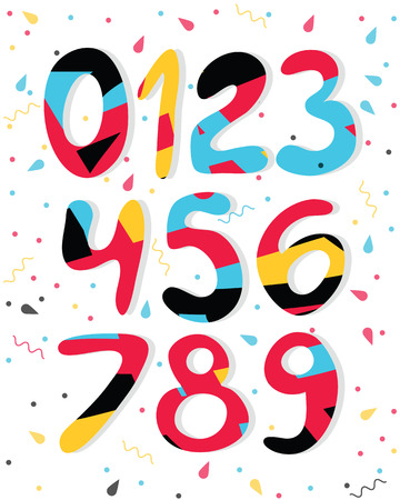 Vector cartoon colored numbers. Graphic numbers for paper, web, game design.