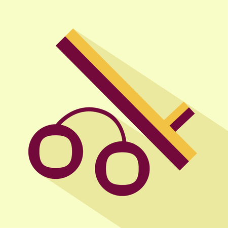 baton: Flat stylize police baton and handcuffs icon. Isolated colored icon for logo, web site design, button, app, UI.