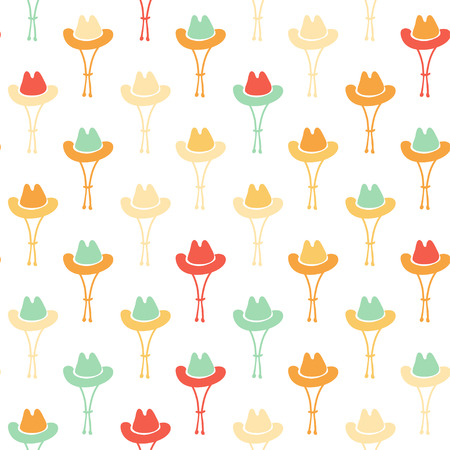 Vector hand drawn cartoon seamless pattern with cowboy hat. Western theme. Colored cowboy pattern for paper, textile, polygraphy, game, web design
