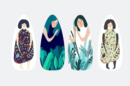 Vector illustration set with sleepy and cheerful girls in the jungle.