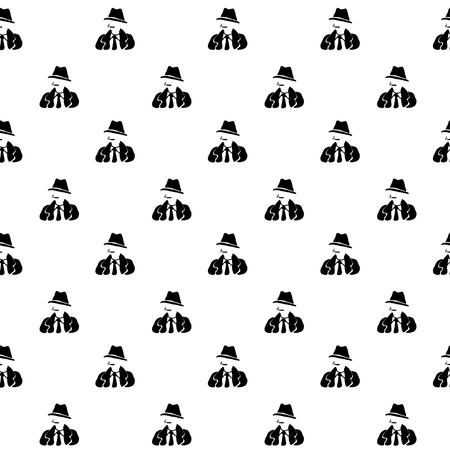 inspector: Cartoon seamless pattern with detective. Crime, noir theme. Black and white spy pattern for paper, textile, polygraphy, game, web design