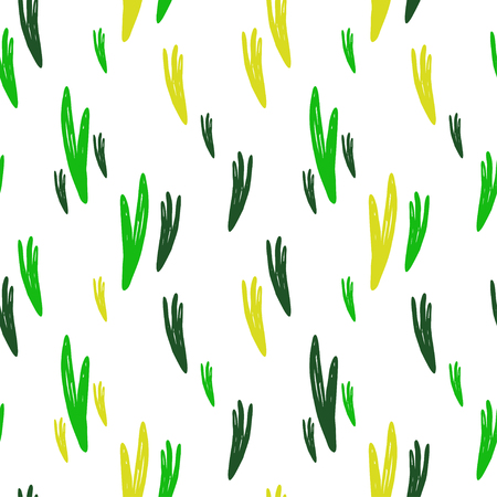 Vector seamless cartoon grass pattern. Cute green hand drawn pattern for paper, textile, handmade decoration, scrap-booking, polygraphy, t-shirt, cards.