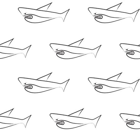 Vector Seamless Cartoon Pattern Black And White Shark Pattern Amazing Shark Pattern