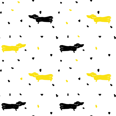 Vector seamless cartoon pattern with dachshund. Black, yellow and white hand drawn dog pattern for paper, textile, handmade decoration, scrap-booking, polygraphy, t-shirt, cards.