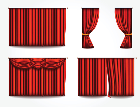 Vector red velvet or silk curtains icons set. Realistic theater draperies decoration icons for web design, logo, polygraphy, app, UI.