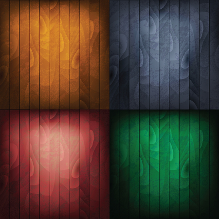Vector set of wood backgrounds. Brown, red, blue, green wood texture. Illustration