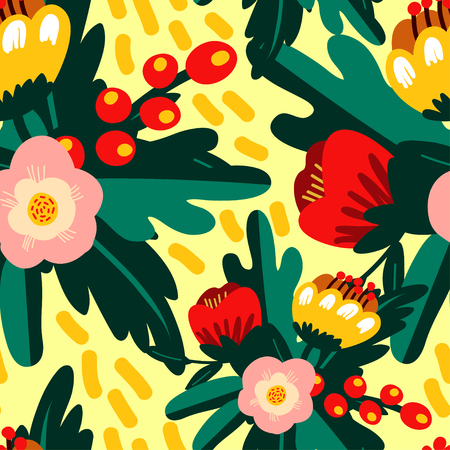 Vector seamless pattern with doodle flowers for textile, wrapping papper, web design, scrap-booking.