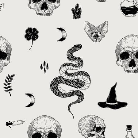 Patrón de terror vintage dibujado a mano transparente de vector con calaveras, murciélago, serpiente, luna, veneno, cristal. Decoración espeluznante para papel, textil, decoración de envoltorios, reserva de chatarra, camiseta, tarjetas.