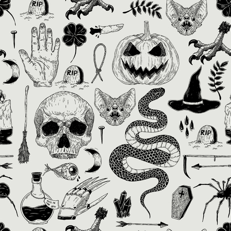 Vector seamless hand drawn vintage Halloween pattern with pumpkin, skull, snake, witch, grave, bat. Creepy decoration for paper, textile, wrapping decoration, scrap-booking, t-shirt, cards. Ilustração Vetorial