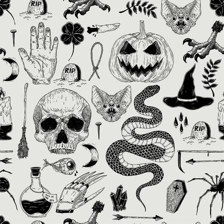 Vektor nahtlose Hand gezeichnete Vintage Halloween-Muster mit Kürbis, Schädel, Schlange, Hexe, Grab, Fledermaus. Gruselige Dekoration für Papier, Textil, Verpackungsdekoration, Schrottbuchung, T-Shirt, Karten. Vektorgrafik