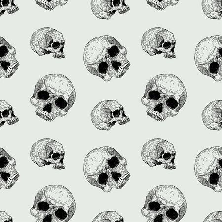 Vector seamless hand drawn vintage horror pattern with skulls. Creepy decoration for paper, textile, wrapping decoration, scrap-booking, t-shirt, cards. 向量圖像
