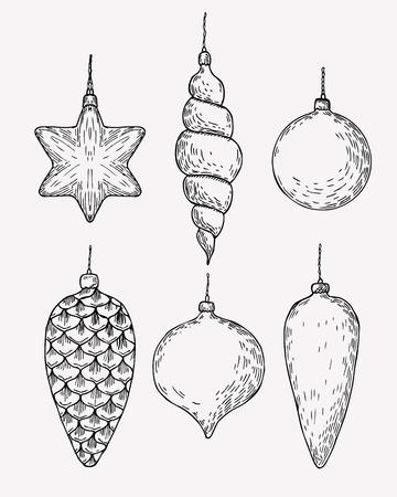 Christmas tree decoration. Hand drawn christmas balls and cones sketch.