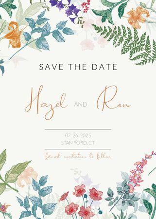 Modello di invito a nozze botanico con erbe e fiori disegnati a mano. Modello di biglietto Salva la data colorato in stile vintage Vettoriali