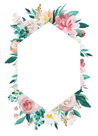 Blush and Mint floral frame isolated on white background. Hand drawn painting arrangement for wedding invitation, birthday, business, anniversary, party invitation, holidays.