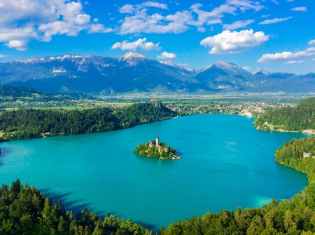 view: Beautiful aerial view of lake and mountains