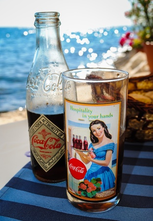 cola bottle: Coca cola bottle and glass vintage