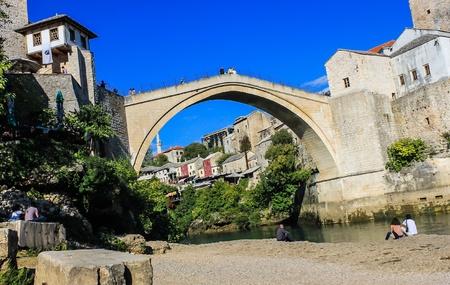 mostar: Historical bridge in Mostar, Bosnia Stock Photo