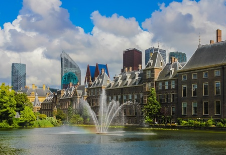view: View of palace by the pond in The Hague, The Netherlands Stock Photo