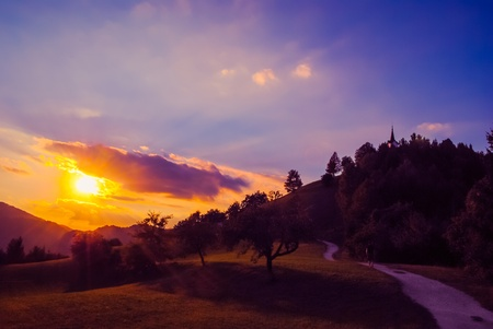 bright: Colourful twilight on mountain during sunset