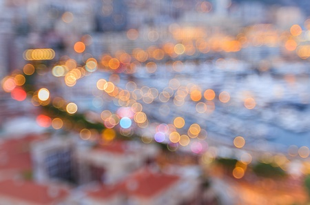 urban: Blurred of city lights with bokeh at blue hour