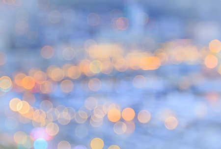 morning blue hour: Blurred of city lights with bokeh at blue hour