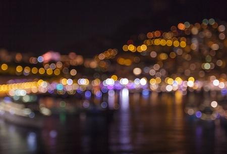 dark: Blurred of city lights with bokeh at dark night