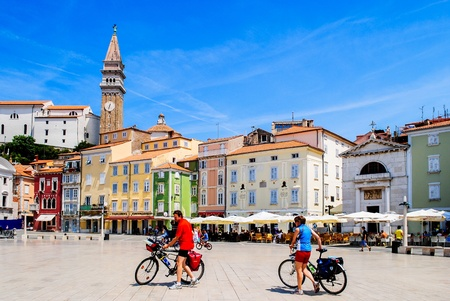 urban: Main square of Piran city, Slovenia in summer Stock Photo