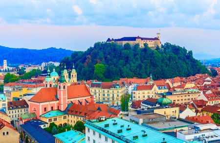urban: Cityscape of Ljubljana, capital of Slovenia Stock Photo