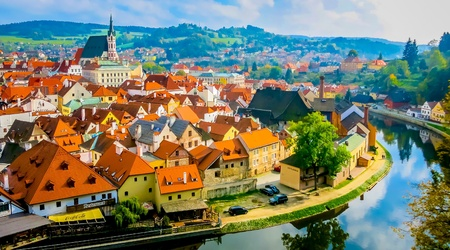 krumlov: Cityscape of Cesky Krumlov in autumn Stock Photo