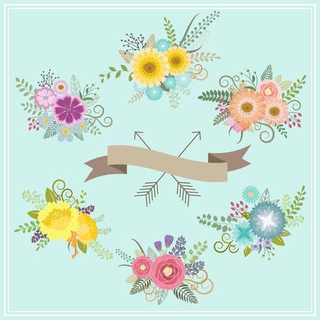 floral decoration: Vintage floral set for decoration Illustration