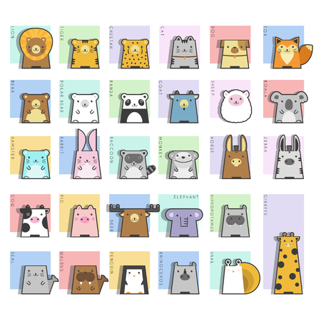 hipopotamo caricatura: Cute Animals  Icon Set, vector, illustration Vectores
