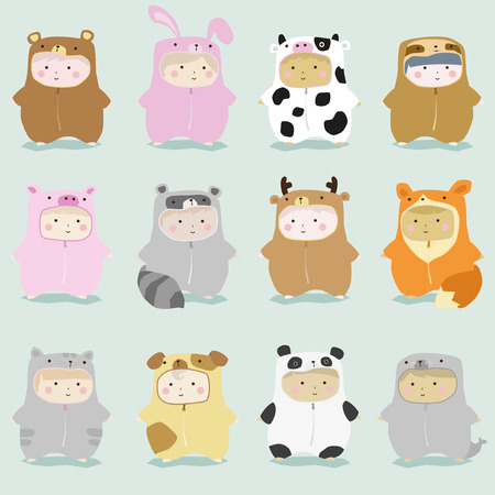 Set of kids in cute animal costumes 1 , vector , illustration  イラスト・ベクター素材