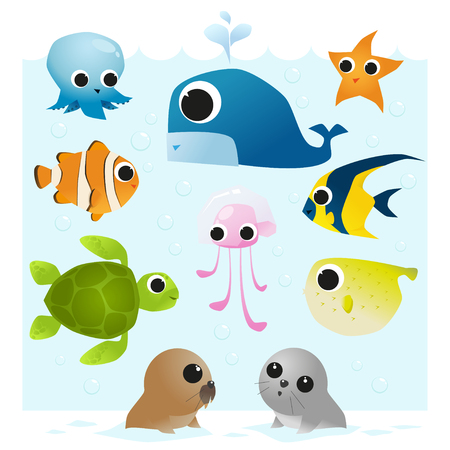 anemonefish: Set of Sea Animals,vector,illustration
