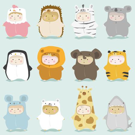 shark cartoon: Conjunto de niños lindos trajes de animales 2, vector, ilustración