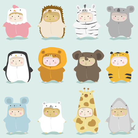 cute animals: Set of kids in cute animal costumes 2 , vector , illustration