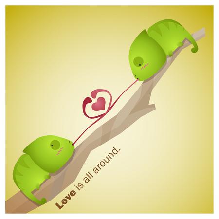 enamorados caricatura: Colecci�n linda de los animales del amor est� por todas partes 5, vector, ilustraci�n
