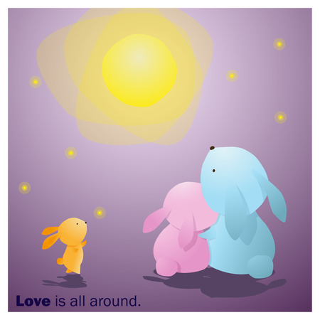 enamorados caricatura: Cute Animals Collection Love is all around 7 ,vector,illustration Vectores