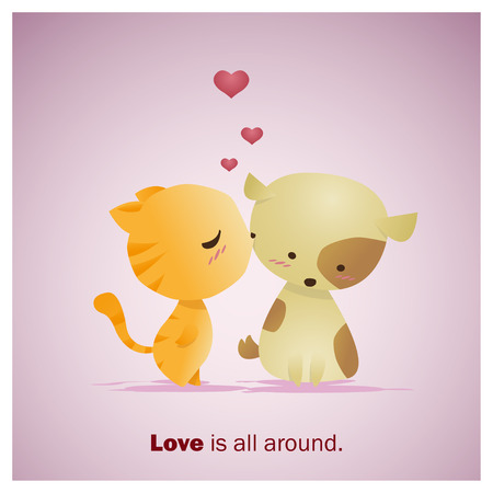 kiss love: Cute Animals Collection Love is all around 1 ,vector,illustration Illustration