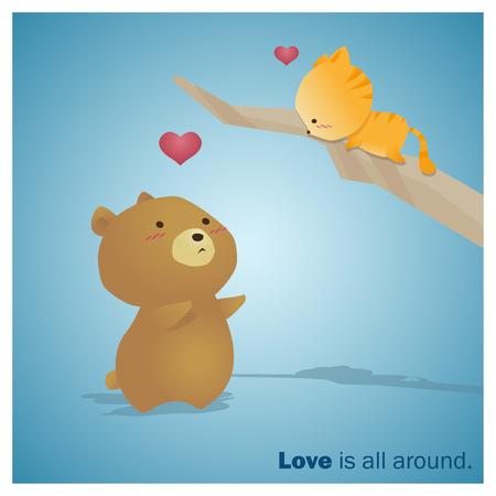 enamorados caricatura: Cute Animals Collection Love is all around 3 ,vector,illustration