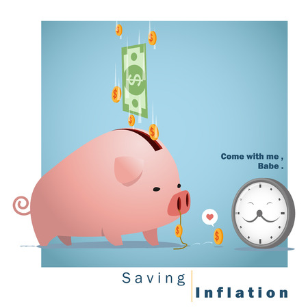 inflation: Business concept Idea  Saving and Inflation ,vector,illustration