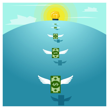 absorption: Business concept Idea  Money and Investment ,vector,illustration Illustration