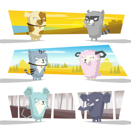 cartoon raccoon: Animals collection team C,vector,illustration
