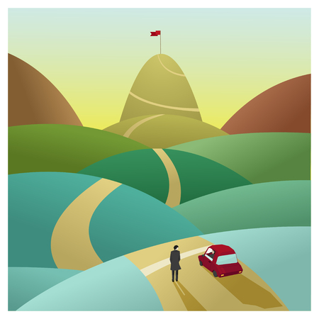 mountain road: Education is superpower to success,vector,illustration Illustration