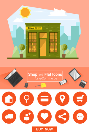 book store: Shop and flat icons for e-commerce Book store, vector, illustration