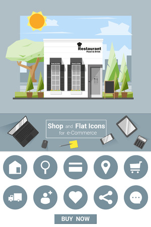 food and beverage: Shop and flat icons for e-commerce Restaurant , vector, illustration