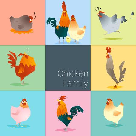 Set of chicken family , vector , illustration Vettoriali