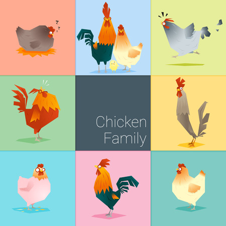 Set of chicken family , vector , illustration Ilustrace
