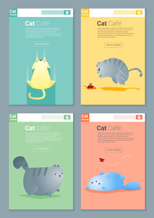 Animal banner with Cat story for web design , vector , illustration