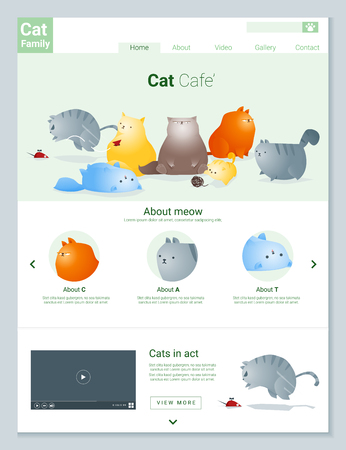 Animal website template  banner and infographic with Cat story , vector , illustration  イラスト・ベクター素材